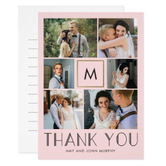 Modern Initial EDITABLE COLOR Wedding Thank You Card