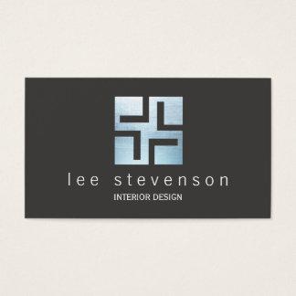 Modern Interior Designer Metallic Geometric Logo Business Card