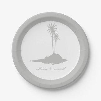 Modern Island Beach Wedding - Gray Paper Plate