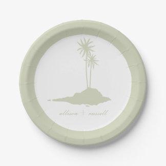 Modern Island Beach Wedding - Green 7 Inch Paper Plate