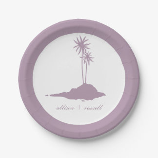 Modern Island Beach Wedding - Violet 7 Inch Paper Plate