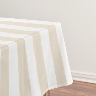 Modern Ivory Wide Stripe Tablecloth