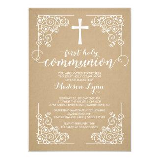 Modern Kraft First Holy Communion Invitation