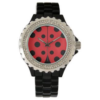 Modern Ladybug Rhinestone Watch