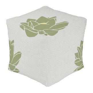 Modern large flower floor cushion gray green
