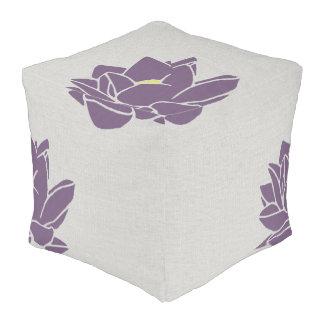 Modern large flower floor cushion gray purple
