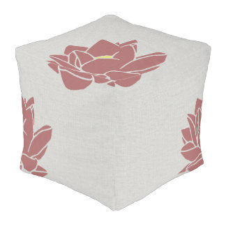 Modern large flower floor cushion gray red