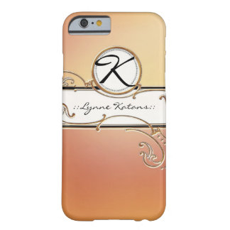 Modern Lavish Elegant Orange Pink Jewel Monogram Barely There iPhone 6 Case