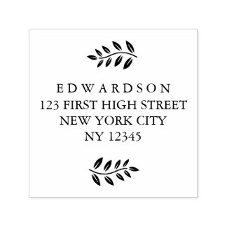 Modern leaves branche custom Return Address Stamp