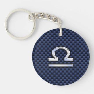 Modern Libra Sign on Navy Blue Carbon Fiber Key Ring