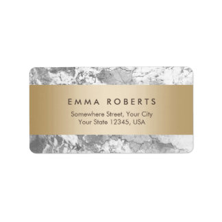 Modern Marble Stone Gold Striped Elegant Address Label