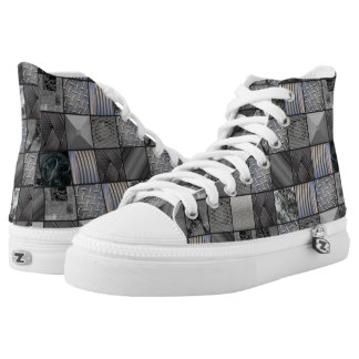 Modern, Masculine Monochrome Photography Mosaic Printed Shoes