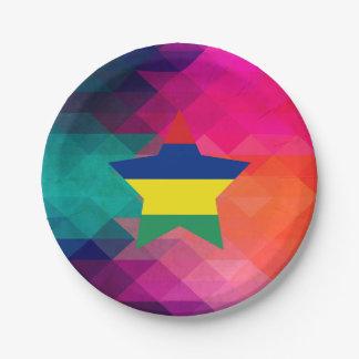 Modern Mauritius Flag Paper Plate