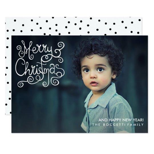 Modern Merry Christmas Calligraphy Holiday Photo Card