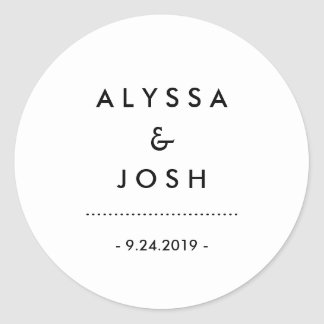 Modern Minimal Black and White Wedding Round Sticker