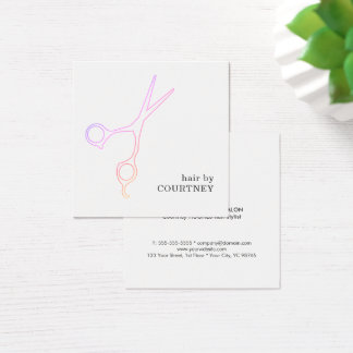 Modern Minimal Pink White Hair Stylist Square Business Card