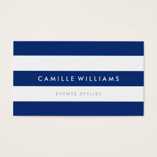MODERN MINIMAL wide stripe pattern navy blue white Business Card