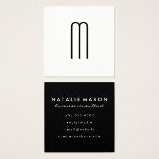 Modern Minimalist Monogram Square Business Card