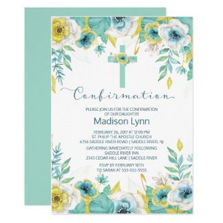Modern Mint Floral Cross Confirmation Invitation