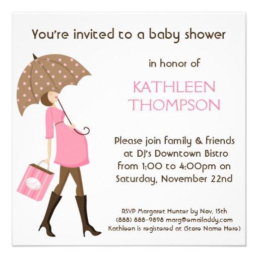 Modern Mommy Baby Bump GIRL Shower Party Custom Announcement