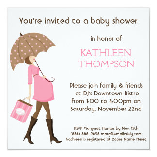 Modern Mommy Baby Bump GIRL Shower Party 5.25x5.25 Square Paper Invitation Card