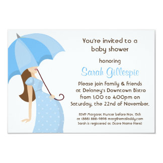 Modern Mommy Blue Boy Baby Shower Party Custom Announcements