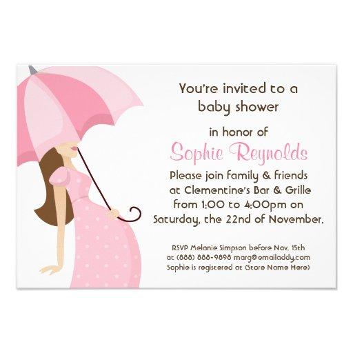 Modern Mommy Pink Baby Shower - Girl Custom Announcement
