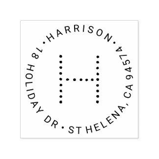 Modern Monogram Round Return Address Self-inking Stamp