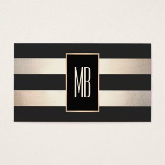 Modern Monogram Striped Black and FAUX Gold Foil