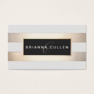 Modern Monogram Striped Gold Foil (image)  Black Business Card