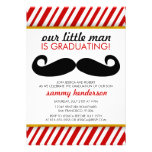 Modern Moustache Boy Graduation Invitation