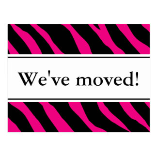 Modern moving postcards | hot pink zebra stripes