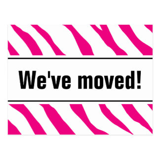 Modern moving postcards with pink zebra stripes