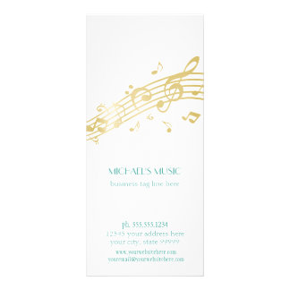 Modern Musical Business Branding Gold Music Notes Personalized Rack Card