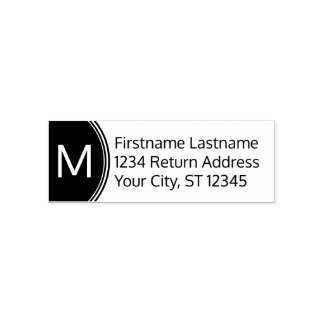 Modern Name and Return Address with Monogram Self-inking Stamp