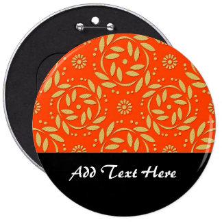 Modern Orange and Gold Floral Pattern Pin