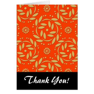 Modern Orange and Gold Floral Pattern Card