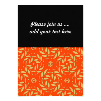 Modern Orange and Gold Floral Pattern Announcements
