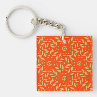 Modern Orange and Gold Floral Pattern Key Ring