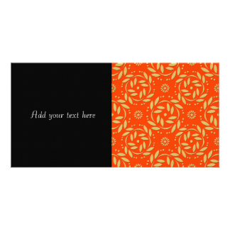 Modern Orange and Gold Floral Pattern Personalized Photo Card