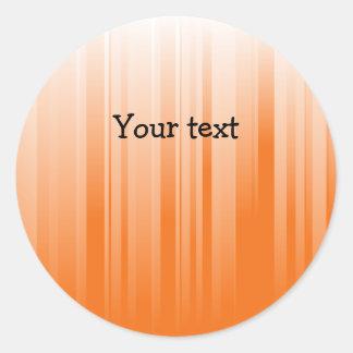 Modern orange and white stripes round sticker