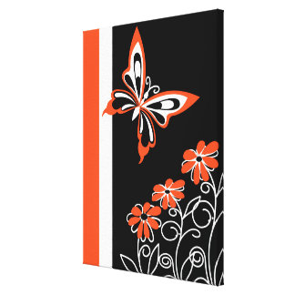 Modern orange black and white butterfly floral stretched canvas print