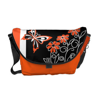 Modern orange black and white butterfly floral courier bag