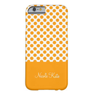 Modern Orange Polka Dots Monogram Barely There iPhone 6 Case