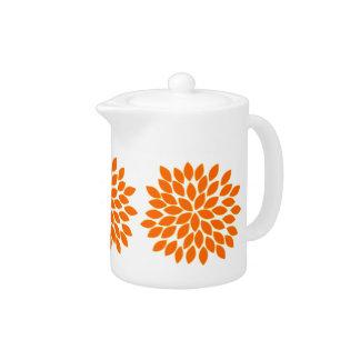 Modern Orange Star Burst Flower Teapot