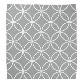 Modern Overlapping Circles Pattern Grey and White Bandana