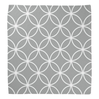 Modern Overlapping Circles Pattern Grey and White Do-rags