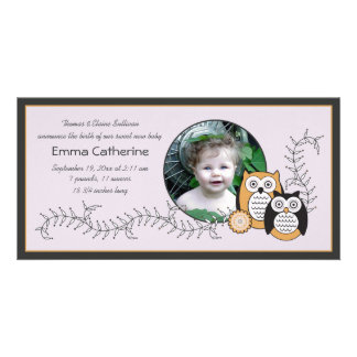 Modern Owls Baby Announcement Photo Card