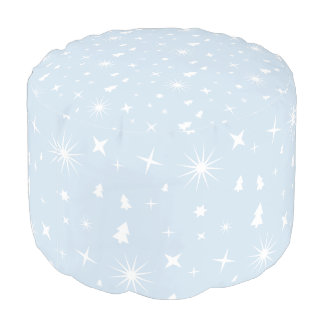 Modern Pattern Christmas Baby Blue Stars White Pouf