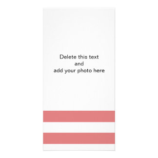 Modern Peach White Stripes Pattern Custom Photo Card
